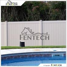 Fentech White Flat-Top Full Privacy Vinyl Fence For Yard, Garden, House, Pool