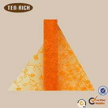 hot sale embroidered silk organza fabric orange