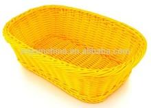 Light Yellow Plastic Rattan Food Basket