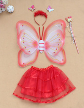 red butterfly wing set with skirt, wand, headband