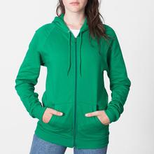 Unisex thin hoodie raglan sleeve plain zip up fleece hoodie