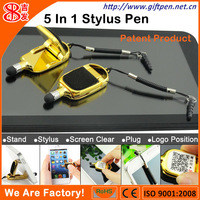Newest stylus pen for ipad and smartphone with stand,3.5mm plug and screen cleaner from shenzhen factory