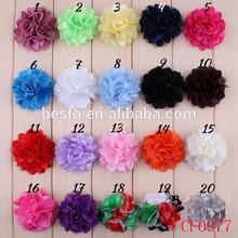 Cheap ruffle satin mesh fabric flower garment accessories for kids clothing
