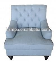 Popular Upholstered Velvet one Seater Sofa Design with Birch Legs