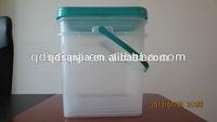 5 gallon Clear bucket plastic pails with lids and handles square black plastic bucket storage pail rectangular pail