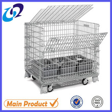 stackable folding wire mesh metal container