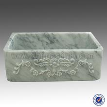 Branco mármore Carrara pia da cozinha única taça escultura em pedra pia Farm