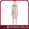 2014 nude tassels tea length cocktail dress chiffon bandage sleeveless