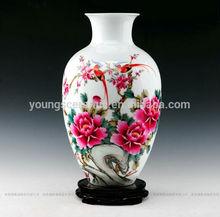 hermosa maestro chino pintado a mano de cerámica de porcelana flor florero de aves s con la certificación