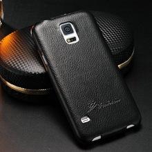 China made custom bulk genuine leather litchi design phone cover case for samsung galaxy S5