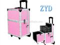 cosmético profissional trole de alumínio rosa kit de maquiagem para o cabeleireiro do artista