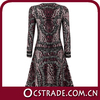 2014 designer printed women formal cocktail dress with long sleeve