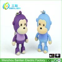 LED sound mini plastic cute monkey keychain