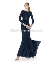 Dark Blue Elegant Sheath Design Chiffon Round Neck Evening Dresses With Sleeves