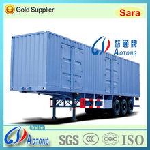 China 3 axles 50ton Van type coal/bulk cargo transport semi truck trailer for sale