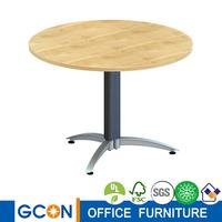 Modern metal base wood top coffee table