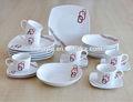 24 pcs louça de porcelana branca conjuntos com o logotipo