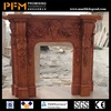 China high quality natural hand-craved big fireplace with statue