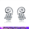 Paris Fashion Jewelry China Factory Silver CZ Earrings Christmas Gift Wholesale