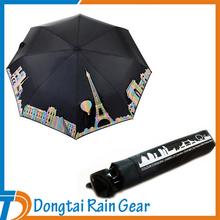 21inch*8ribs color changing design city 3 Folding Umbrella
