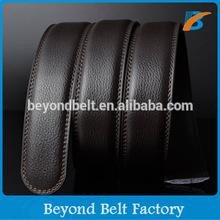 Beyond Men's 3.5cm Wide Double Sides Black Coffee Real Leather Belt Strap for Slider Buckle