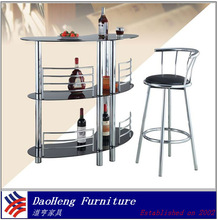 chrome metal tube and cheap black tempered glass bar counter