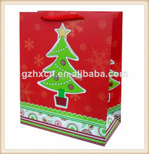 Christmas promotional drawstring paper gift shopping bags