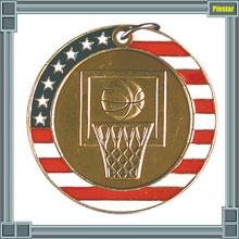Custom Cheap Enamel Coin Key Ring American Flag Basketball Sport Championship Medal Gold Finish