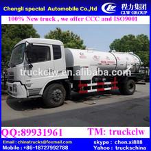 10m3 190 hp dongfeng esgoto a vácuo de sucção do caminhão, vácuo de sucção do caminhão tanque lhd