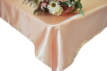 high quality Peach Satin Table Cloths with many size and colors in China