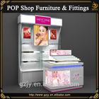 High end modern mdf cosmetic display stand ,shop shelf display cosmetic