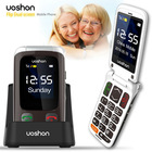 sos alarm big font dual lcd flip phone senior cell phone with cradle