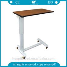 AG-OBT011 high quality wooden steel frame laptop bed table adjustable hospital over bed table
