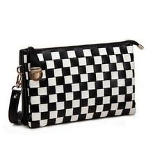 Fashion black-white grid leather femal hand clutch bag