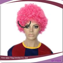 Short light pink afro wholesale fan wigs