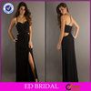 Simple Black Sexy Side Slit Elegant Chiffon Long Cheap Evening Dresses Made In China