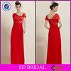 A-line Cap Sleeve Long Red 2013 Turkish Evening Dress Formal
