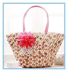 hot sale fancy bulk designer lady fabric red wheat straw flower pattern beach bag handbags manufacturer China 2014