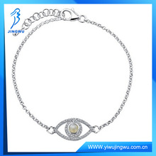 Sterling Silver Moonstone Diamond Evil Eye Bracelet