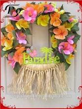 hawaiian luau wreath tropical party decoration front door wreath