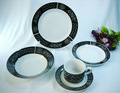 t1157 20 peças decorativas de cerâmica em preto e branco louça do jantar conjuntos