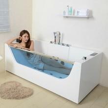2014 hot sale very small bathtubs combo massage air & whirlpool glass transparent tub SF5B002 corner clear bathtub
