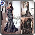 Eds208 pleine longueur noir à manches longues dentelle robe de soirée