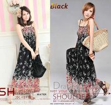 BOHO pattern Women's flora Floral Sexy Exotic Chiffon Long Dress Skirt black and white 3104
