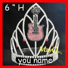Wholesale Red Crystal Guitar crown, custom rock and roll crown