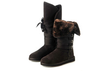 new 2015 high wool dark grey snow boots dedicated handmade lady through the White snow boots