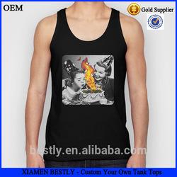 Men cotton solid color tank tops