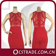 2014 hot sale sleeveless red bandage dress sexy wedding dress in dubai