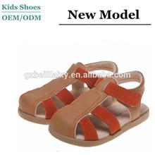 Boys Infant Tan + Orange Strap Leather Toddler Boys Sandals