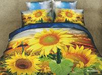 High Quality Cotton 3D printed Sunflower Bedding set, Floral printed 3D Bedding set